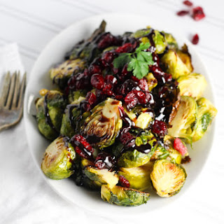 Roasted Brussels Sprouts with Cranberries and Balsamic Reduction