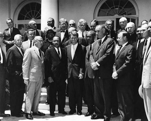 Martin Luther King, Jr. and Civil Rights Leaders with Attorney General Robert F. Kennedy and Vice President Lyndon B. Johnson