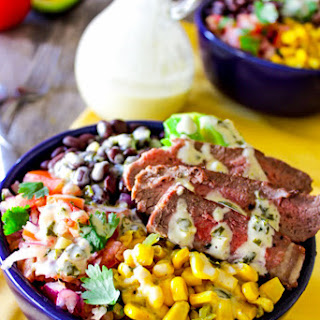Steak Bowls with Cilantro-Lime Cream Sauce.