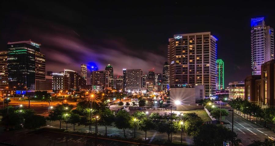 Foggy Dallas Night by Barrett Woodward - City,  Street & Park  Skylines ( foggy, dallas )