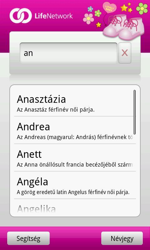 Babanév Kereső Lány - screenshot