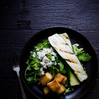 Grilled Zucchini Salad with Feta and Sweet Croutons