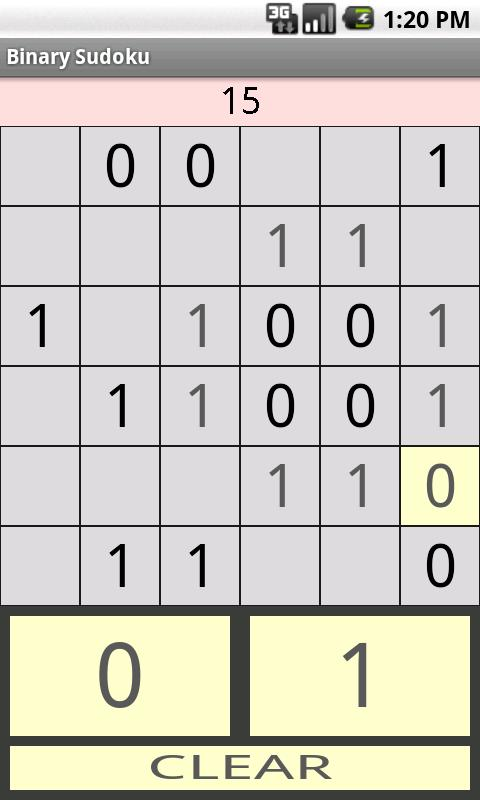 Binary Sudoku- screenshot