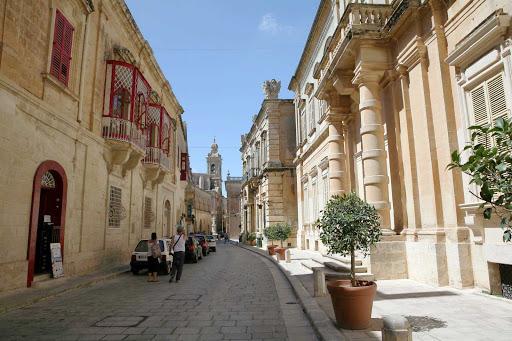Street scene in Valletta, capital of the Mediterranean island nation of Malta.
