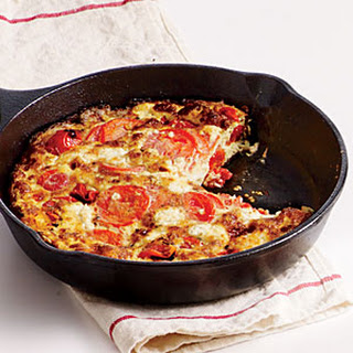 Two-Tomato, Basil, Goat Cheese Frittata.