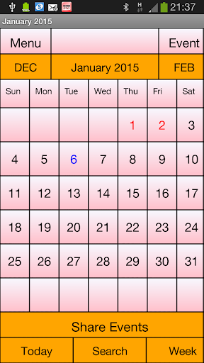 Calendar Me Switherland 2015