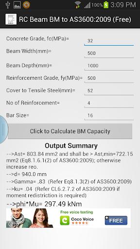 R.C.BEAM BM TO AS3600 Free