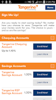 Screenshot of Tangerine Banking