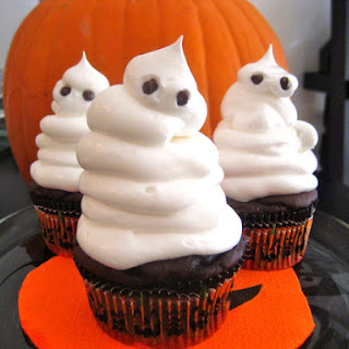 Low Fat Fudgy Ghost Cupcakes.
