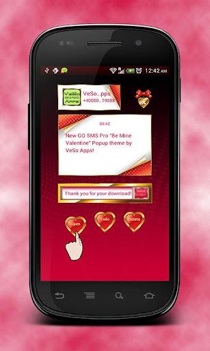 GO SMS Be Mine Valentine Popup