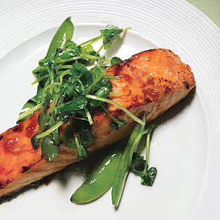 Salmon with Sweet Chili Glaze, Sugar Snap Peas, and Pea Tendrils.