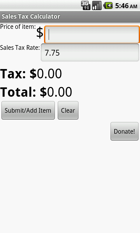 Sales Tax Calculator - screenshot