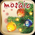Christmas tree children mosaic icon