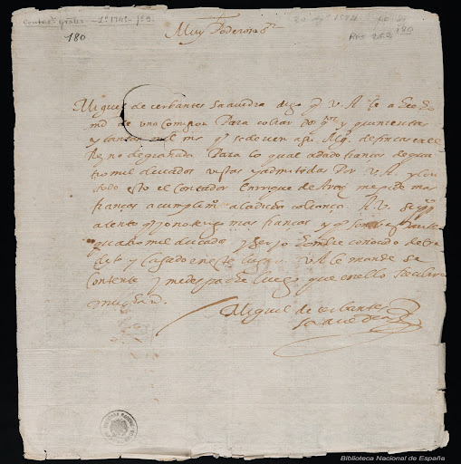 Autograph statement requesting that the guarantee provided be considered sufficient (Biblioteca Nacional de España) [Page 1]