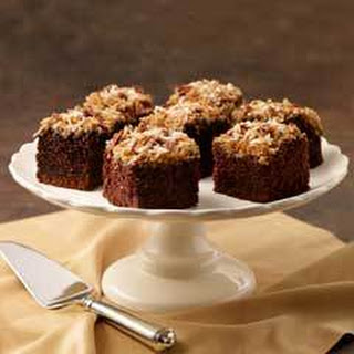 Pecan Coconut Topped Chocolate Cake.