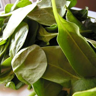 Wilted Spinach Salad with Warm Feta Dressing.