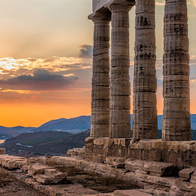 Cape Sounion by Vibeke Friis - Buildings & Architecture Public & Historical ( water, temple, mountains, ancient, greek pillars, sunset, golden, historic,  )