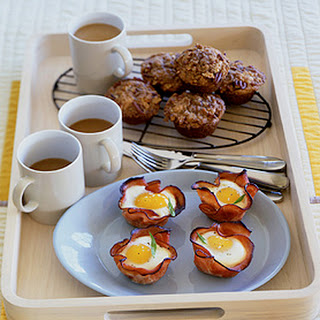 Baked Eggs and Mushrooms in Ham Crisps.