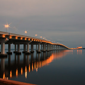 Biloxi Bay Bridge by Angela Wescovich - Landscapes Waterscapes ( water, biloxi, ocean springs, bridge, dusk,  )