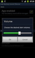 Screenshot of Low Battery Sound Silencer