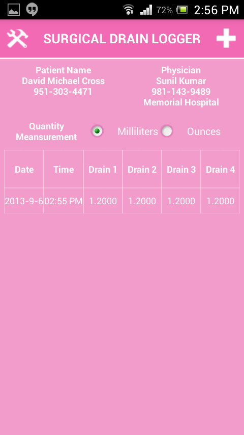 Surgical Drain Logger- screenshot