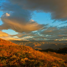 Sunset over the mountains by Charles Saunders - Novices Only Landscapes ( clouds, mountians, sunset, dominican republic, yellow )