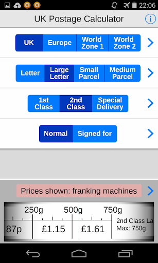 UK Postage Calc. eBay delivery screenshot