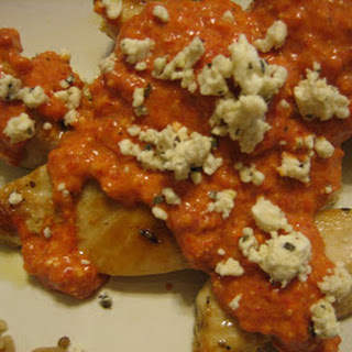 Chicken with Roasted Red Pepper Sauce and Feta Cheese