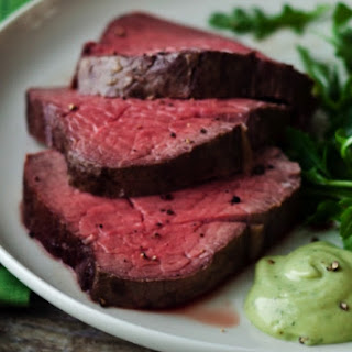 Beef Fillet With Basil Mayonnaise.
