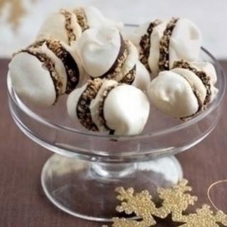 Mini Meringues With Hazelnuts And Cream.