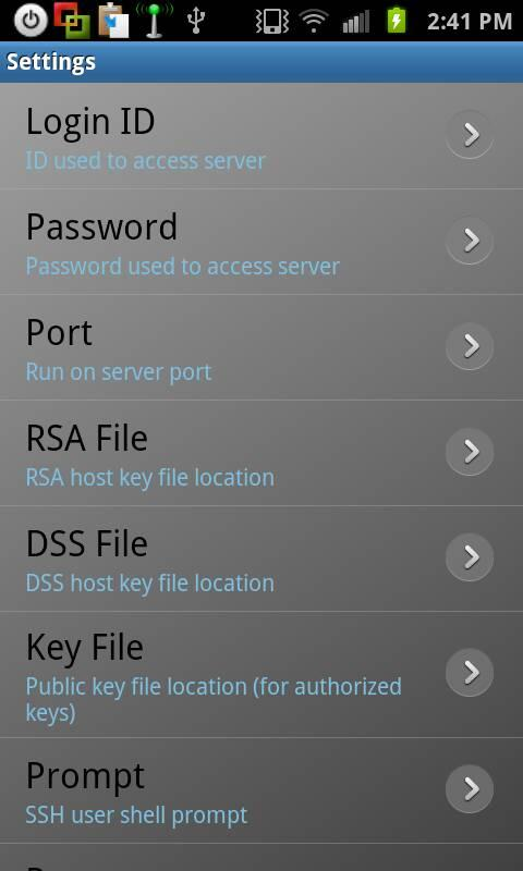 Rooted SSH/SFTP Daemon- screenshot