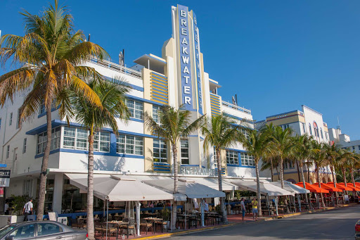 The Breakwater Hotel on Ocean Drive in South Beach, Miami.