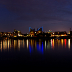 Chattanooga Riverfront Panorama by Jermaine Pollard - Landscapes Waterscapes ( chattanooga, water, reflection, park, tennessee, dusk, panorama, city, lights, sunset, night, coolidge, panoramic )