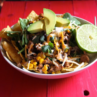 Ground Turkey Taco Salad with Corn & Black Beans.