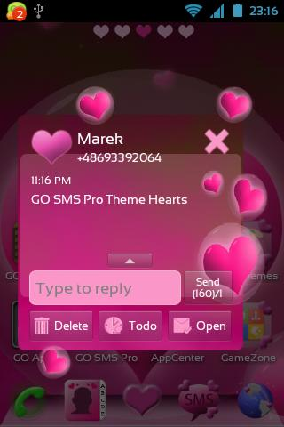 GO SMS Pro Theme Hearts - screenshot
