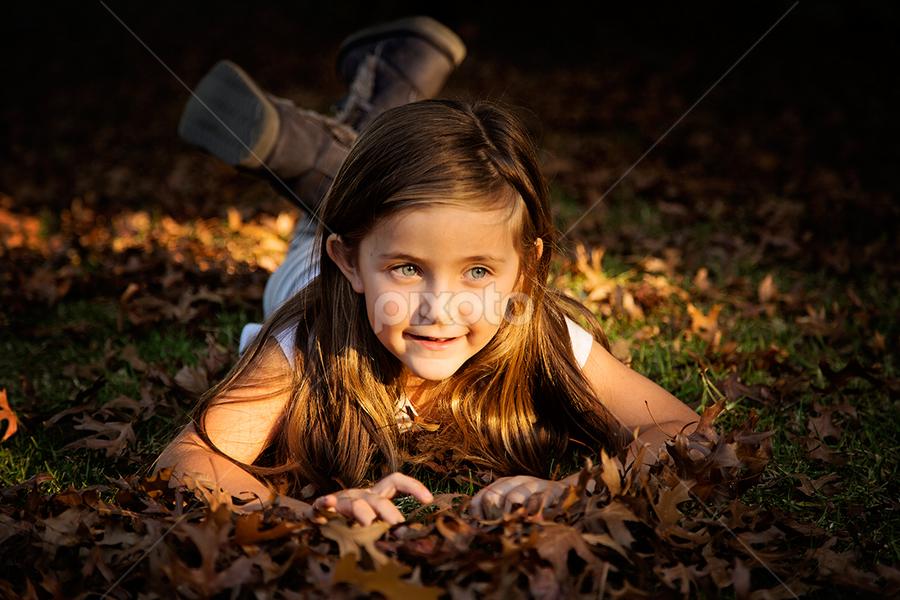 Jaimee by Linda Stander - Babies & Children Children Candids ( child, leaves, portrait )