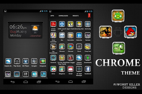 App CHROME APEX NOVA GO ADW THEME APK for Windows Phone