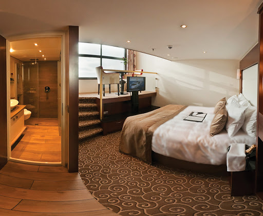 Tauck-LoftCabin-RoomPlusBath - A loft cabin with bath aboard Tauck's identical river cruise ships Inspire and Savor.