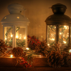 Lanterns by Elk Baiter - Artistic Objects Still Life ( hdr, still life, night, light, lanterns, , Christmas, card, Santa, Santa Claus, holiday, holidays, season, Advent )