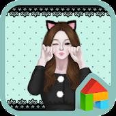 lovely girl cat dodol theme