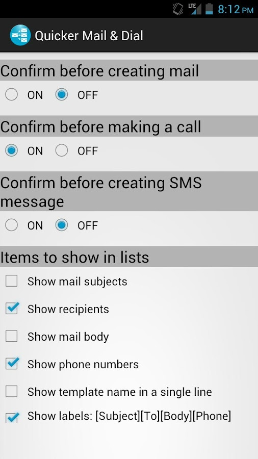 Quicker Mail & Dial - screenshot