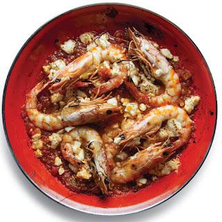 Garides Saganaki (Shrimp with Tomatoes and Feta).