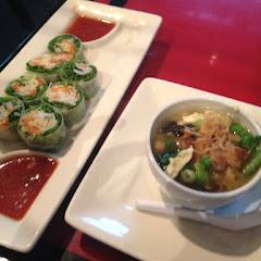 Veggie summer rolls and egg drop soup