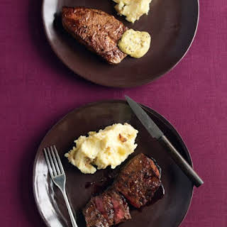 Seared Flat-Iron Steaks with Wine Sauce.