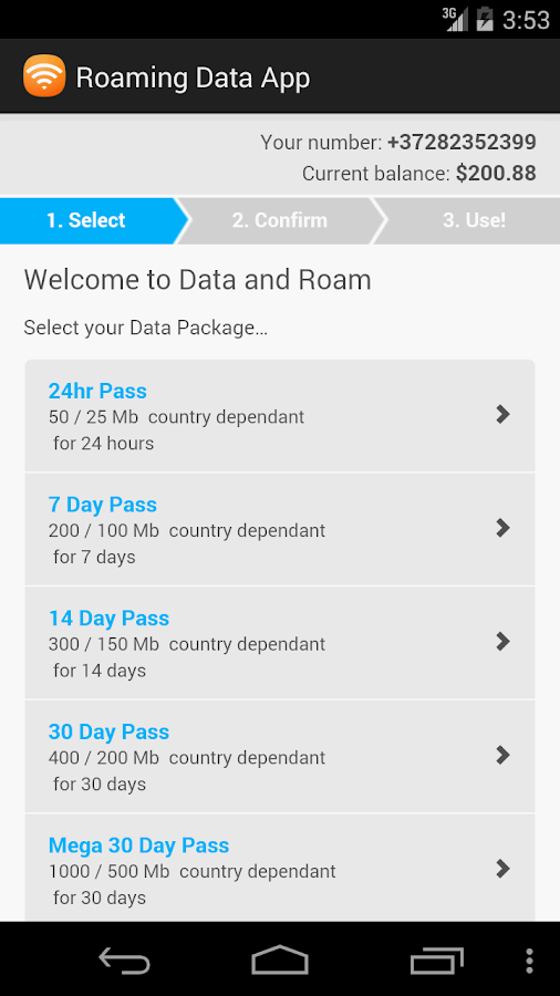 Roaming Data App- screenshot