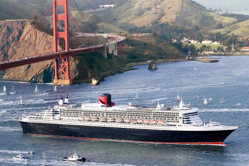 Cunard-Queen-Mary-2-in-San-Francisco-Bay - Queen Mary 2 enters San Francisco Bay as it passes below the Golden Gate Bridge.