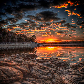 Awesome Sunset by Michael Buffington - Landscapes Sunsets & Sunrises ( clouds, sunset, summer, lake, rocks, , golden hour, sunrise, Earth, Light, Landscapes, Views )