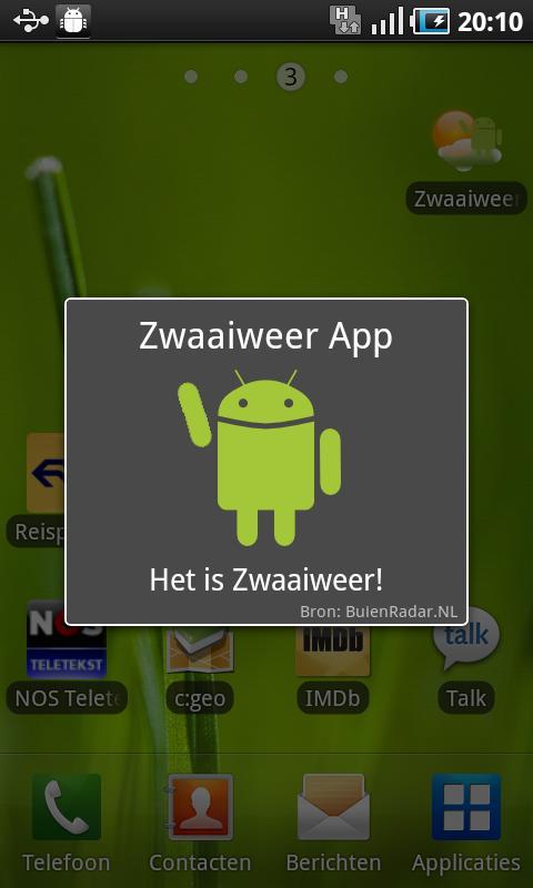 Zwaaiweer App- screenshot