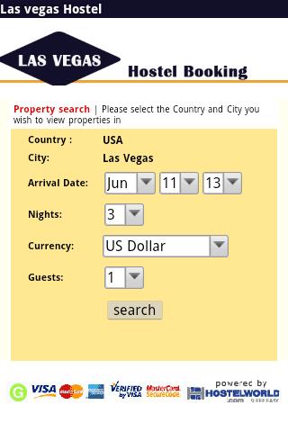 Las vegas hostel booking