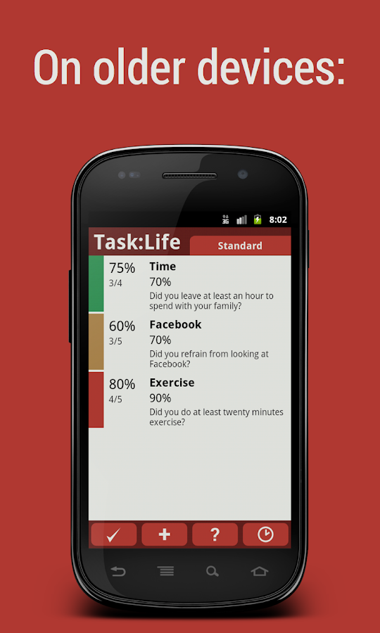 Task:Life Performance Tracker - screenshot